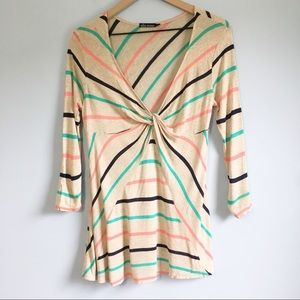 Ella Moss striped twist front 3/4 sleeve blouse